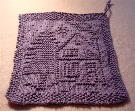 pattern knitted dishcloth a dishcloth house and tree free pattern from