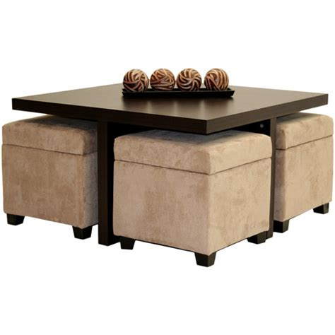 coffee table with storage ottoman club coffee table with 4 storage ottomans chocolate and