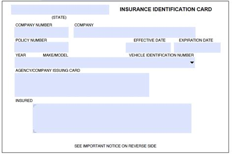 make insurance card auto insurance card template