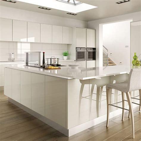 white kitchen ideas uk hi gloss white kitchen with l shaped island gloss kitchen ideas 10 ideas housetohome co uk