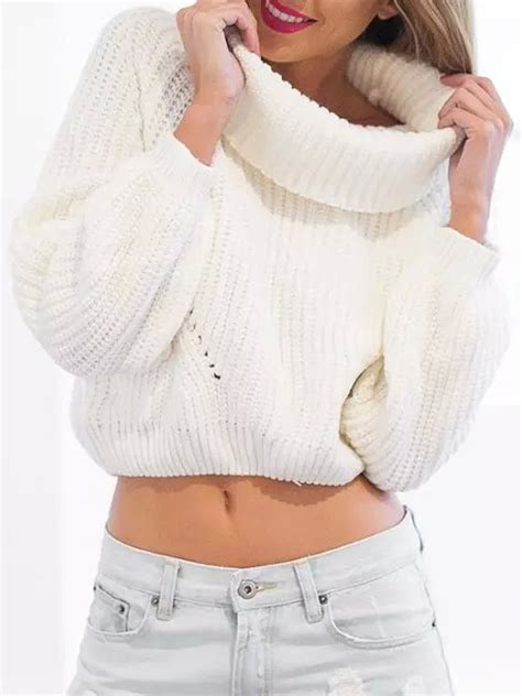 white chunky knit sweater white high roll neck sleeve ribbed trim chunky knit