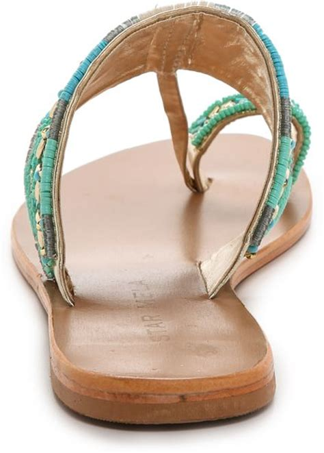 turquoise beaded sandals mela sabri beaded sandals turquoise in blue
