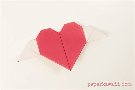origami haert origami with wings tutorial paper kawaii