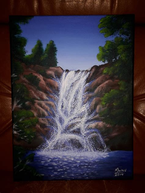 acrylic painting scenery acrylic landscape waterfall painting realistic by