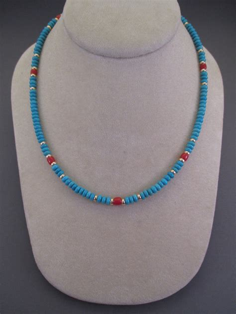 Sleeping Turquoise 14kt Gold Bead Necklace