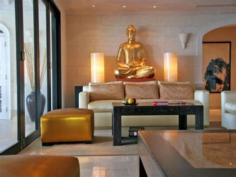 zen home zen living room with gold buddha statue decor