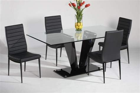 dining table contemporary refined glass top leather italian modern table with chairs