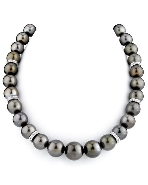 bead source 12 15mm chocolate tahitian pearl necklace with rondelles