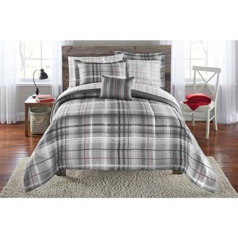 plaid bedding sets mainstays bed in a bag bedding comforter set grey plaid