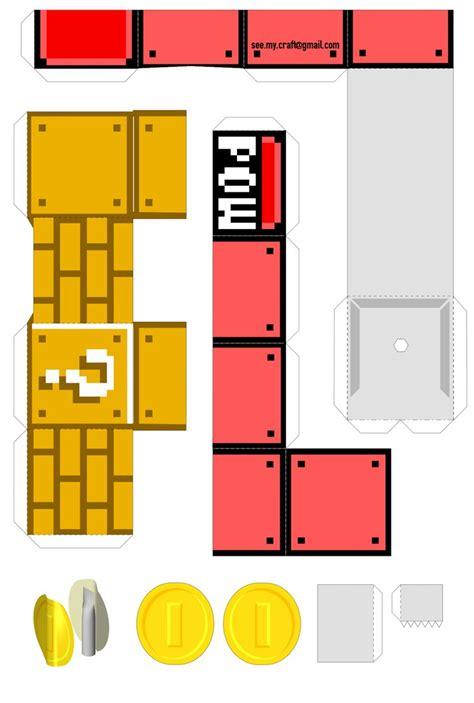mario paper craft mechanical pow block nintendo papercraft