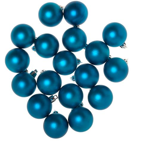 turquoise baubles turquoise shatterproof baubles pack of 18 x 40mm
