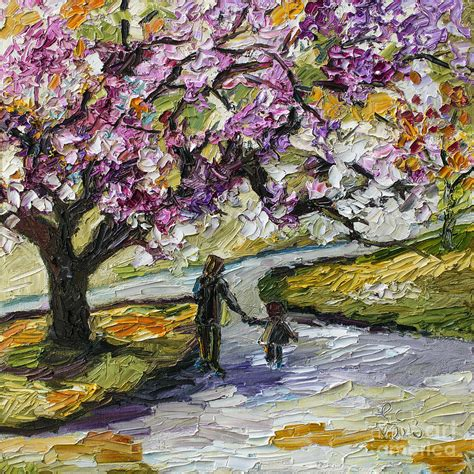 cherry blossom tree walk in the park painting by ginette callaway