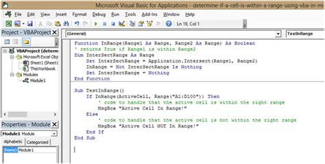 determine if a cell is within a range using vba in microsoft excel 2010 microsoft excel tips