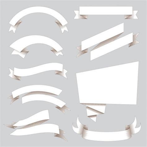 white ribbon white ribbons collection vector free
