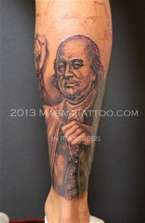 in progress benjamin franklin flying his kite tattoo by