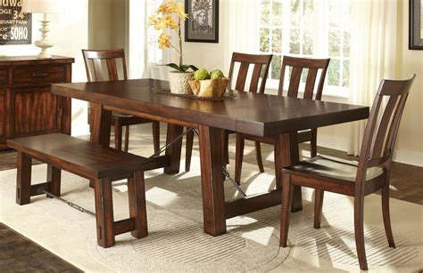 Dining Room Tables With Bench Seats Traditional Casual Dining Room With 6 Pieces Tahoe