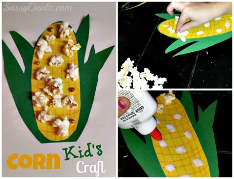 corn crafts for diy easy corn craft for using real popcorn crafty