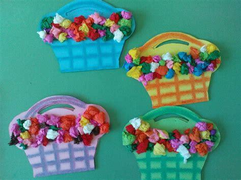 paper flower craft for preschoolers tissue paper flower baskets family crafts