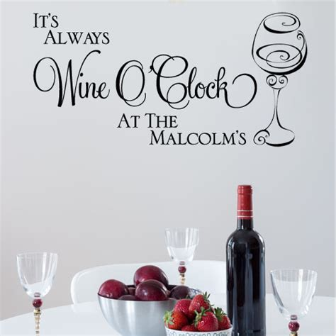 wine wall stickers personalised it s always wine o clock wall sticker decals