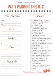 planning checklist printable planning checklist easy event ideas