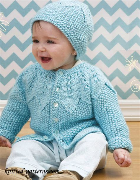 free knitted baby sweater patterns boys baby cardigan and hat knitting pattern free