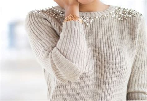 knit and pearl sweater beige bedazzled knitted sweater clothes pearl