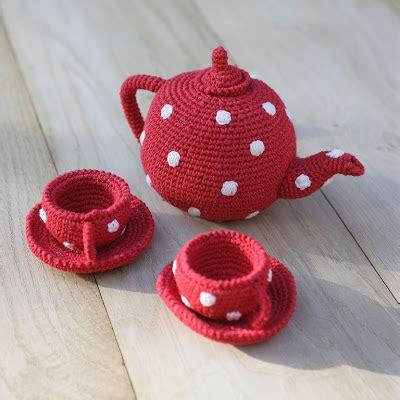 knitted tea set pattern black eiffel knit toys
