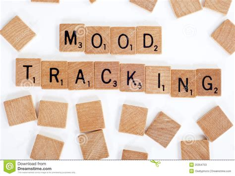 tile tracker scrabble scrabble tiles spelling out mood tracking stock photos