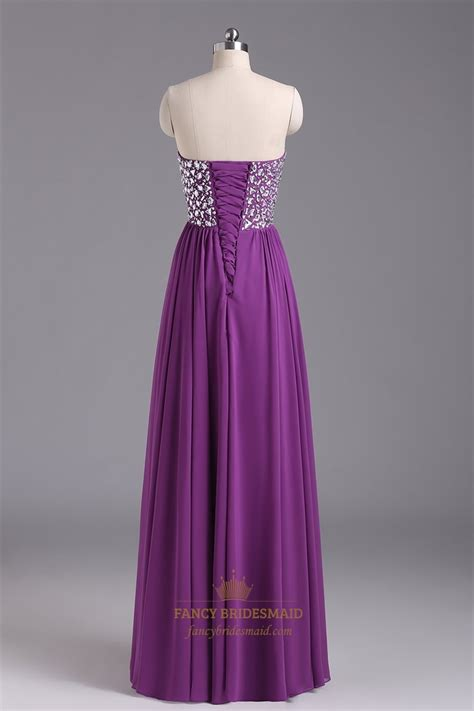 beaded chiffon bridesmaid dresses violet chiffon strapless sweetheart beaded bodice ruffle