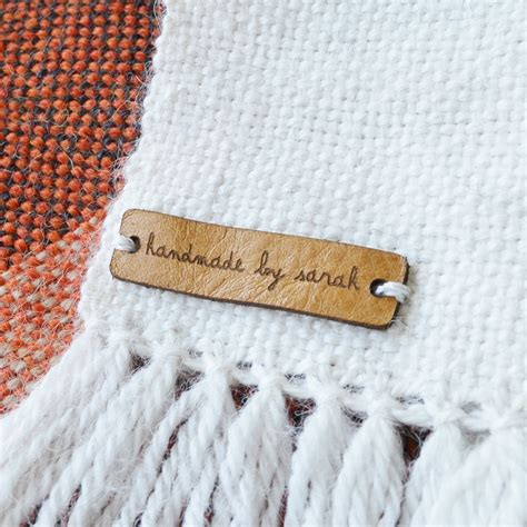 made by tags for knitting custom leather labels personalized leather labels leather