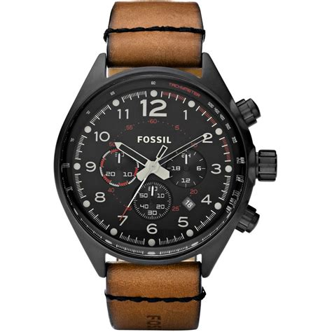 mens leather watches s flight chronograph brown leather ch2695 fossil from company uk