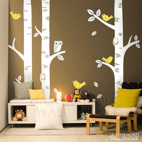tree decal for nursery wall aliexpress buy large owl birds birch tree wall decal