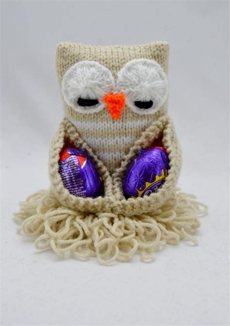 easter free knitting patterns chocolate egg owl easter pattern by gordon craftsy