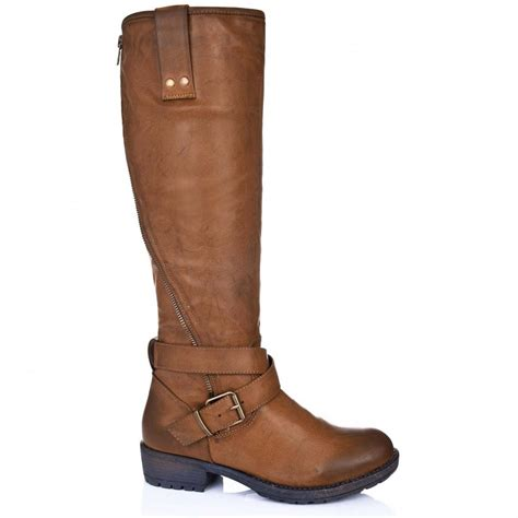 leather knee high boots for buy zippy flat knee high biker boots leather style