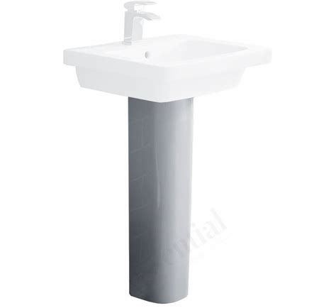 essential ivy pedestal basin only 650mm with 1 tap hole - Pedestal Only For Basin