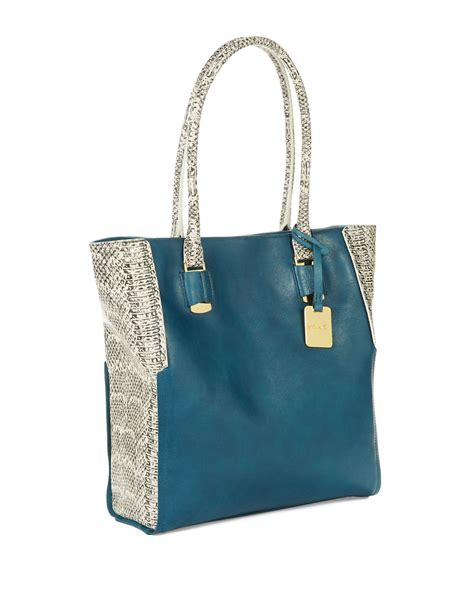 kenneth cole leather bag kenneth cole interlock leather tote bag in blue turquoise lyst