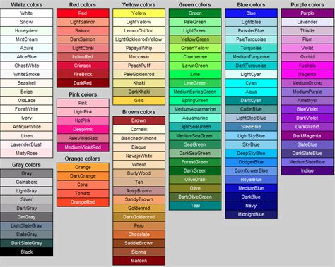 paint colors and their names colour names inspiration pattern design