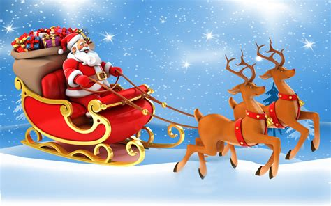 santa and reindeer sleigh postcard santa claus in a sleigh with gifts