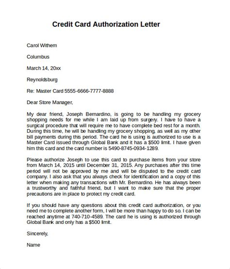 how to make letter card credit card authorization letter 10 documents