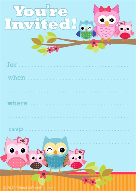 free printable party invitations cute owl invitations