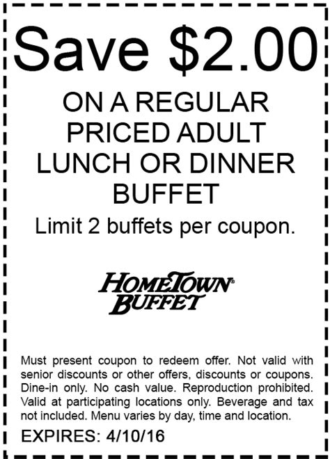 hometown buffet dinner coupons hometown buffet coupons 2 lunch or dinner at