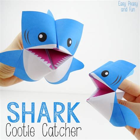 interesting paper crafts shark cootie catcher origami for easy peasy and