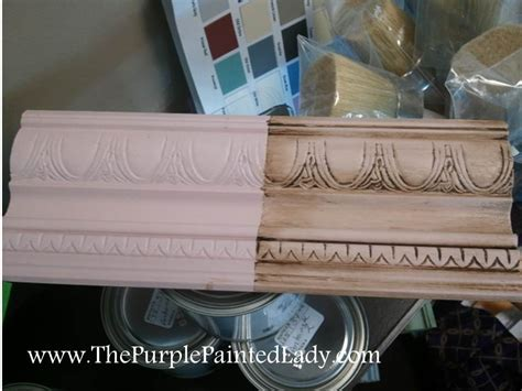 chalk paint distress before or after wax distressing the purple painted