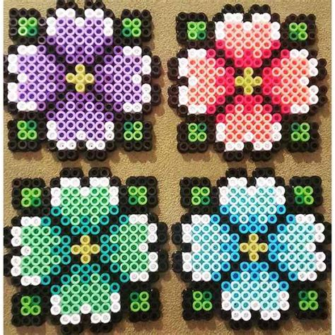 selling perler bead hibiscus perler bead coasters set of 4 mercari anyone
