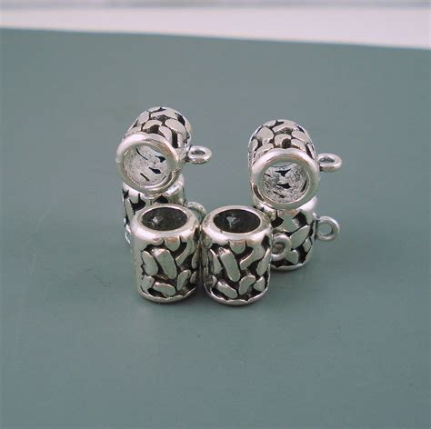 bead holder 7mm charm holder bead for leather or cord simple bead six