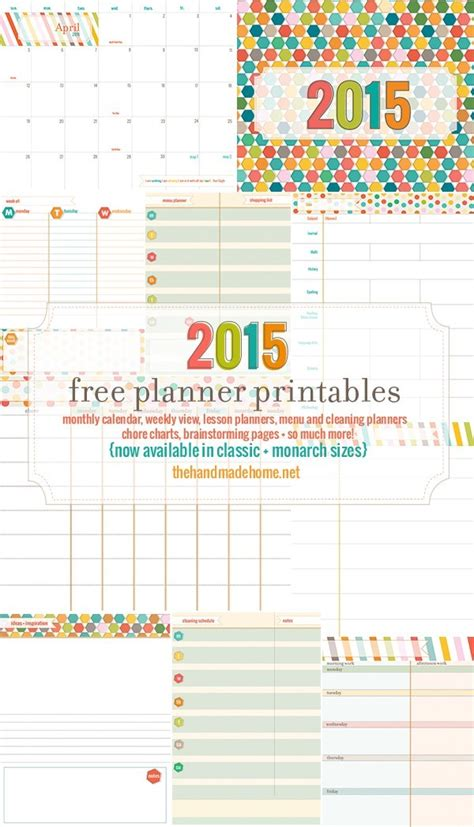 home planner free free planner and calendar more 2015 the handmade home