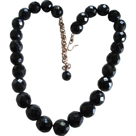 vintage black glass bead necklace vintage glass black bead facet necklace from