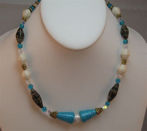 paper bead necklace paper bead jewelry paper bead necklace turquoise blue white
