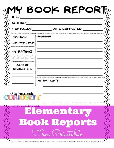 Elementary Book Reports Made Easy Only Curiosity