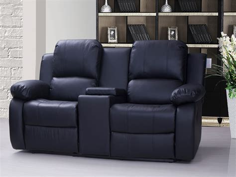 sofa leather recliner recliner sofa with console valencia 2 seater leather